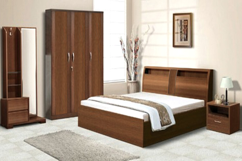 wooden bedroom furniture in picnic garden
